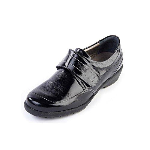 de 37 negro para cordones mujer EU talla Charol Zapatos Suave color de vq584xFw6