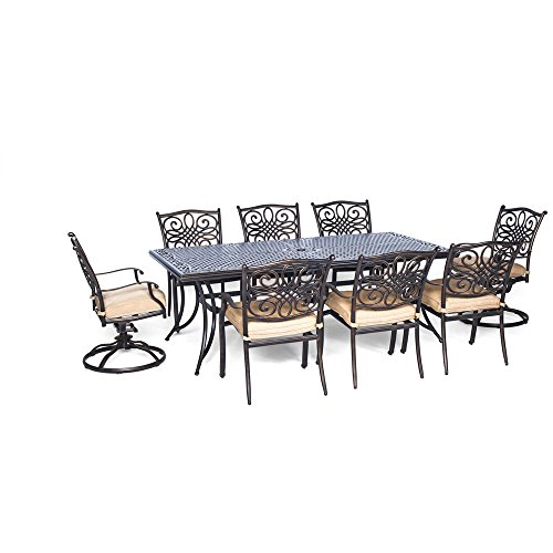 Cheap Hanover Traditions 9 Piece Dining Set with Six Dining Chairs Two Swivel Rockers and an Extra-Long Dining Table