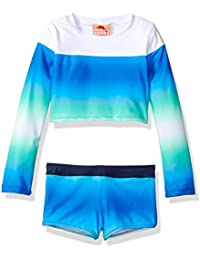 Girls' Long Sleeve Gradient Rash Guard and Swim Short Two Piece Set