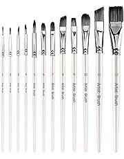AIEX 12Pcs Paint Brushes, Anti-Shedding Nylon Hair Flat Shader Tip Artist