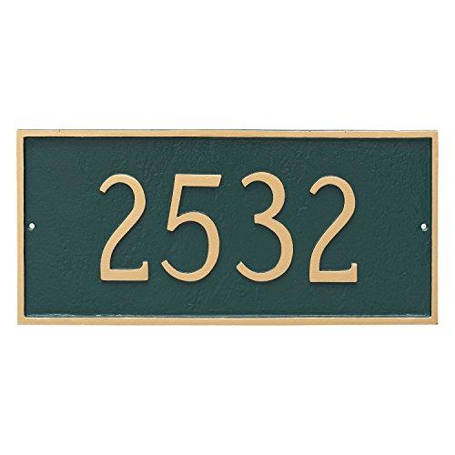 "Montague Metal 7.25"" x 15.75"" Classic Rectangle One Line Address Sign Plaque, Standard, Sea Blue/Silver"