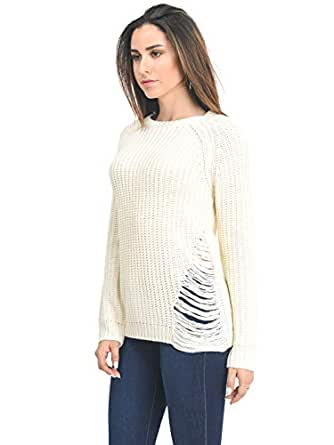 Design by Olivia Women's Criss Cross Braided Back Solid Cable Knit Pullover Sweater Top - Off-white - Medium