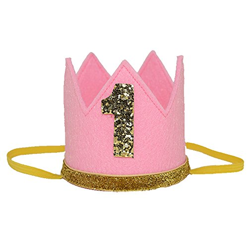 "Petsidea Pet First 1 2 Birthday Crown Hat for Dog Doggy Cat Kitty Pig Birthday Party Photo Prop (Pink ""1"")"