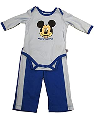 Disney Mickey Mouse Big Face Baby Boys Creeper and Pants Outfit - 0/3M