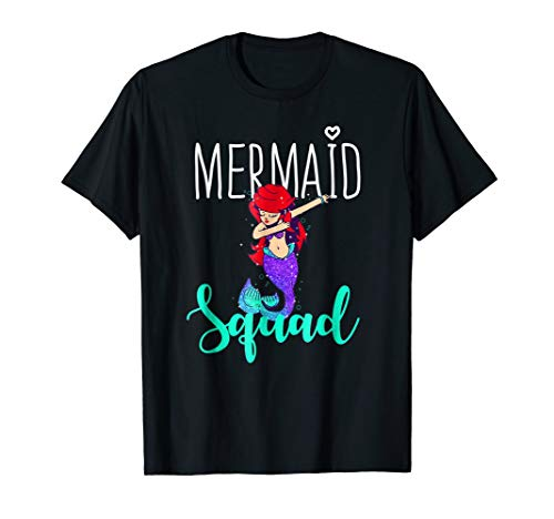 Mermaid Squad Shirt Women Dabbing Mermaid Birthday Party Tee