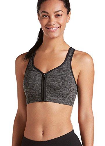 Jockey Women's Zip Front Seam Free Bra, Deep Black Space Dye, Medium
