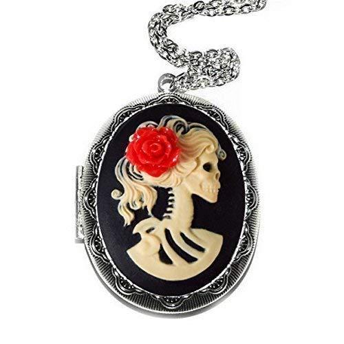 Skeleton Cameo Locket Necklace