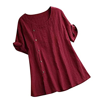 WILLBE Women's Loose T-Shirt Casual Cotton Tops Solid Color Round Neck Short-Sleeved Shirt Womens Short Sleeve T Shirt
