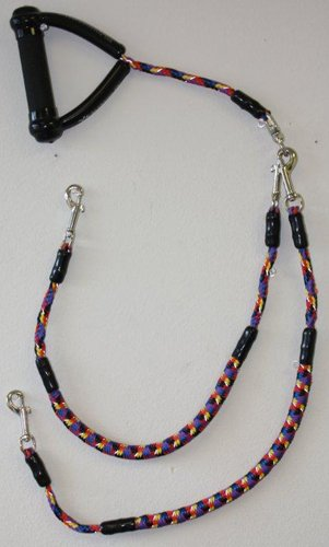 Super Coupler Short, walk multiple dogs tangle-free - 43 inches long - option to disconnect to be used with one dog - built-in swivel that prevents the tangling of leashes - Multi color