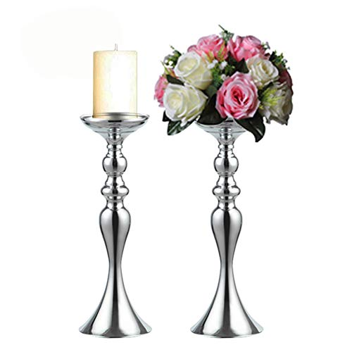 Sfeexun Pcs of 2 Metal Candle Holder - Pillar Candleholder - Vases for Wedding Centerpieces - Party Dinner Event Centerpiece Home Decor (Silver, 15