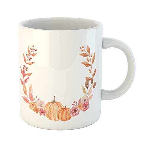 (Semtomn Funny Coffee Mug Harvest Pumpkin Watercolor Fall Flower Wreath Floral Autumn Hand 11 Oz Ceramic Coffee Mugs Tea Cup Best Gift Or)