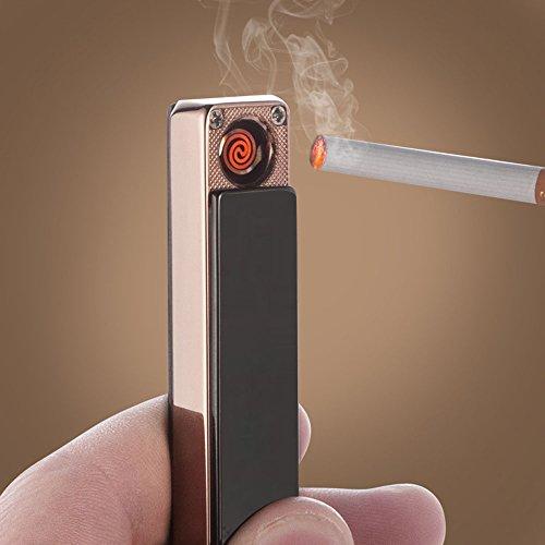 Jobon Super Slim Cigarette USB Rechargeable Lighter Quiet Lady Design for enjoy the happy time ZB-679 (Ice Black) (Hookah Cigarette Rechargeable)