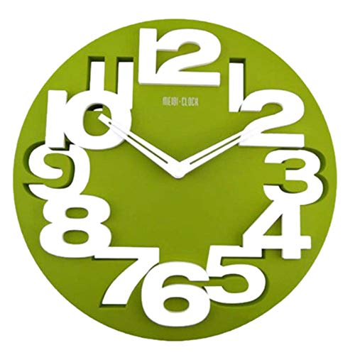 GUABOHHY Novelty Hollow-Out 3D Big Digits Kitchen Home Office Decor Round Shaped Wall Clock Art Clock (Green)