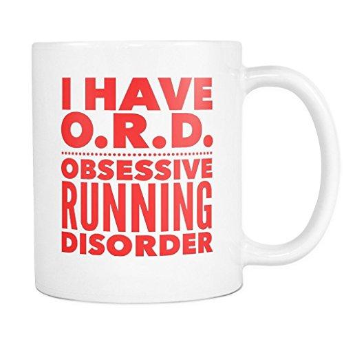 ArtsyMod ORD OBSESSIVE RUNNING DISORDER Typography Premium Coffee Mug, PERFECT FUN GIFT for the Runner, Marathon, Triathlon, Ironman Lover! Attractive Durable White Ceramic Mug (15oz., Red Print)
