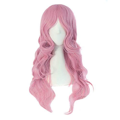 MapofBeauty 24 Inch/60cm Charming Synthetic Fiber Long Wavy Hair Wig Women's Party Full Wig (Pink)