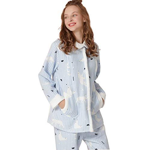 HUIFANG Nuevo Invierno Mujeres Embarazadas Que Amamantan Ropa De Algodón Collar Ligero Collar Pijamas Calientes Damas Ropa para El Hogar (Color : Azul, ...