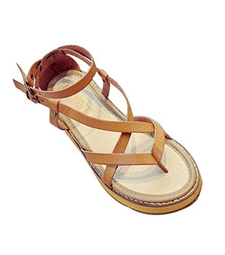 YOUJIA Mujer Sandalias Hebilla Romana Zapatos de Playa Clip Toe Sandalias Plano Verano Cuero de imitación Amarillo