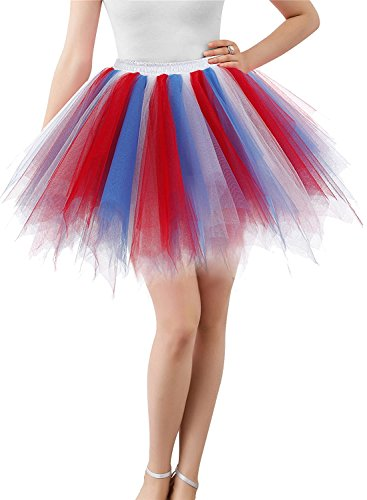 BIFINI Adult Women 80's Tutu Skirt Layered Tulle Petticoat Halloween Tutu Red/Blue/Pink