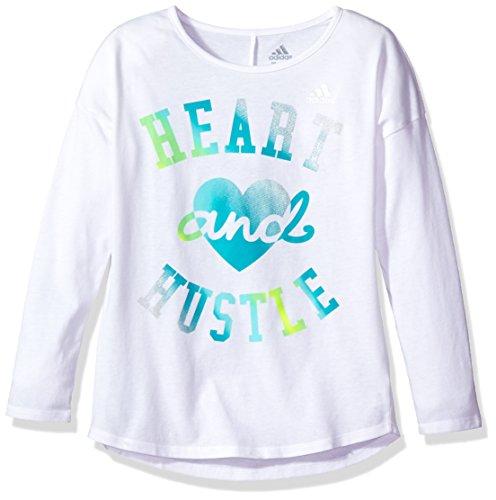 Adidas Little Girls' Long Sleeve Girly Tee Shirt, White Body Energy Blue, 6X