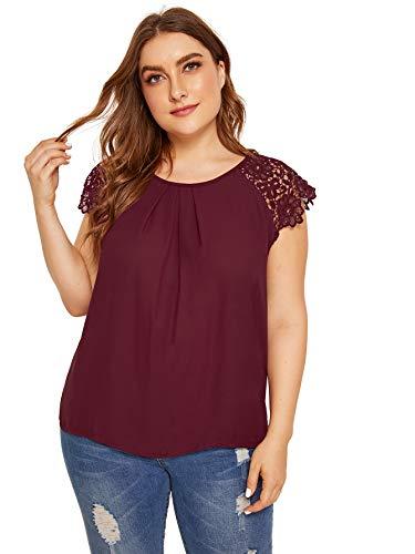 Milumia Women's Plus Size Lace Floral Cap Sleeve Shirt Blouse Top Burgundy 3XL