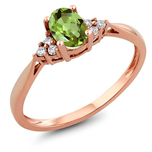 (14K Rose Gold Green Peridot and Diamond Women's Ring 0.56 cttw (Size)