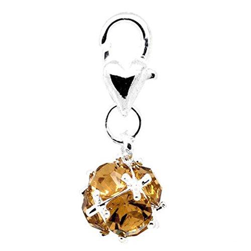 Birthstone Dangle - Birthstone Dangle Charm Pendant for European Clip on Charm Jewelry w/ Lobster Clasp
