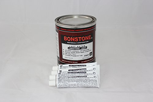 Bonstone Last Patch Limestone Repair Kit/Gray Quart Size with 4 Tubes, Repairs Chips, Spalls, Broken Corners Glue Epoxy Adhesive