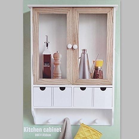 DRULINE Küchenschrank Wandschrank Hängeschrank 4 Haken 4 Schubladen 2  Glastüren Schrank