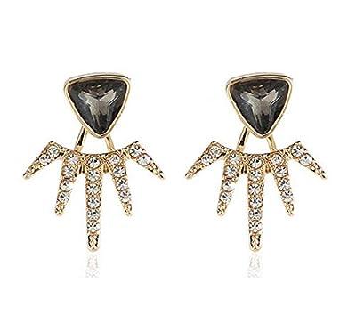 Eoumy Elegant Crystal Ear Jacket Earrings Teardrop Leaf Dangle Round Sun Stars Studs Earrings for Women Girl