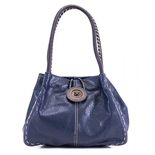 Quality CWRX140731 W40cm Designer Women's x Women's Wood Shoulder Bag Button Stunning x Handbag LeahWard Leather Faux NAVY D15cm H25cm Flexible xEOEwT
