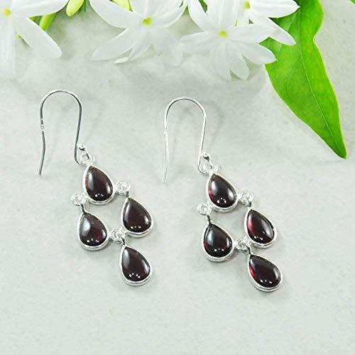 Sivalya 925 Sterling Silver Chandelier Earrings with Dainty Garnet Gemstone Drops - 2