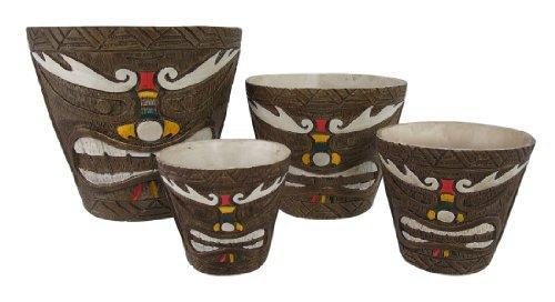 Set-of-4-Friki-Tiki-Painted-Nesting-Planters-Makaha-Style