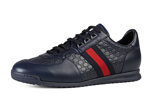 Gucci Men's 'SL 73' Guccissima Leather With Web Detail Sneaker, Blue 233334 (9.5 US UK - Men Sale Gucci