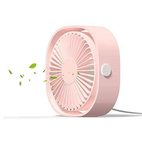 USB Table Fan Portable Mini Personal Desk Fan with 360 Rotation and Adjustable 3 Speed for Office