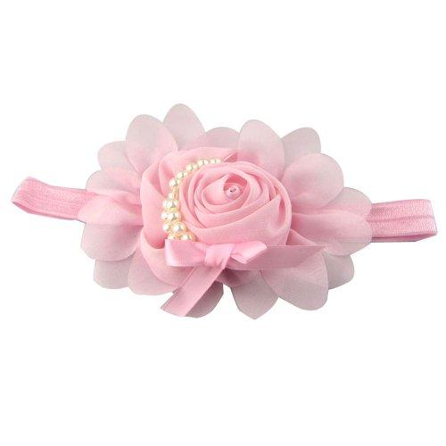 Générique Bébés filles en mousseline de soie perle Bandeau Rose Fleur Hairband Photographie Prop Band (Rose)