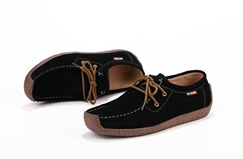 XIUXIAN Xiu xian Mens Snail Casual Lace-up Genuine Leather Flat Sneaker Shoes Black