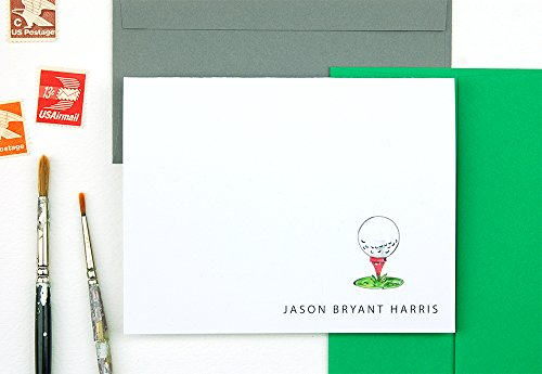 Golf Gifts for Men Personalized Stationery Set, Set of 10 Folded Notecards