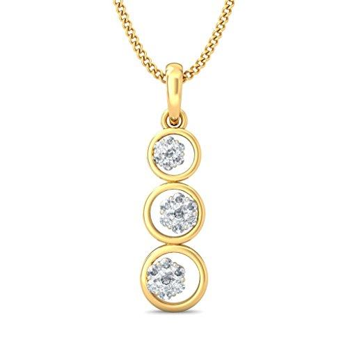 14K Or jaune 0.24CT TW Round-cut-diamond (IJ   SI) Pendentif