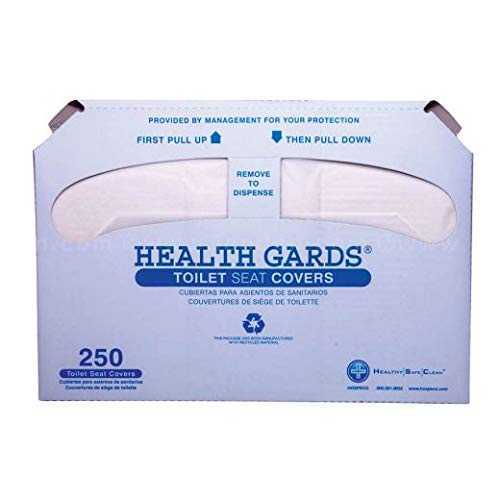 Hospeco Health Gards Toilet Seat Covers, 1/2 Fold - Pack of 250 10/Case (9 Cases)