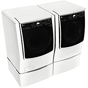 LG POWER PAIR-Mega Capacity TurboWash Series 29' Front Load Laundry System with GAS DRYER with Steam Technology PLUS Matching Storage Pedestals (WM9000HWA+DLGX9001W+WDP5W X 2)