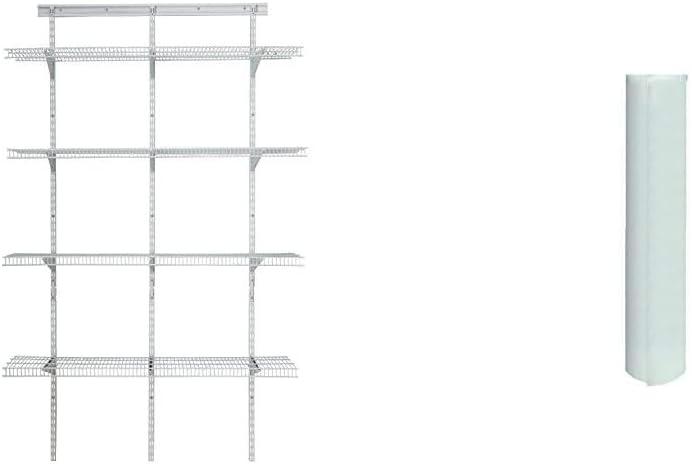 ClosetMaid 2845 ShelfTrack 4ft. Pantry Organizer Kit, White & 1127 ShelfTrack Liner, 8-Foot X 16-Inch Roll