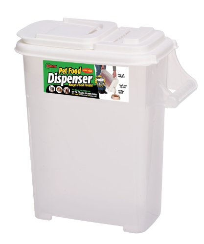 Buddeez Medium (Up to 12lb) Fresh Dry Dog & Cat Food Plastic Storage Container with Flip Lid and Pour Spout for Pet Food and Bird Seed, BPA ()