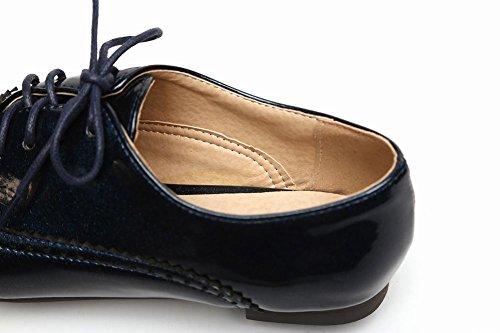 Mee Shoes Damen flach mit Borte Schnürhalbschuhe Blau