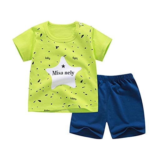 (0-5T Toddler Infant Baby Boys Cute Animal Print Layette Sets 2pcs Animal Print Short Sleeve Shirt Plaid Stripe Pants Outfits (Green, 4-5 Years))