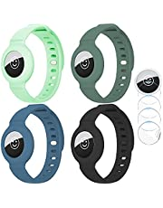 Finyosee 4 Pcs Silicone Bands Compatible for AirTags, Colorful Silicone Bracelet for AirTag Finder Location Tracker Holder with Silicone Wrist Straps, Easy to Attach for Toddler Baby, Kid, Children, Old Man