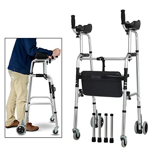 FKDEWALKER Aluminium Folding Walking Frame,Walking Mobility AidWheeled Walker with Seat and Arm Rest,Lower Limb Trainer