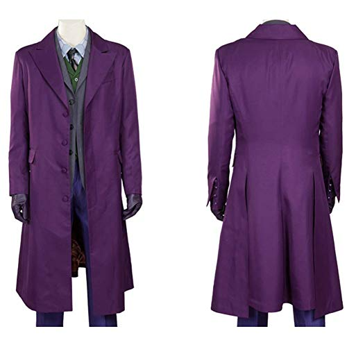 COSSHOW The Dark Knight Joker Costume Set Shirt Vest Tie Gloves Overcoat Suit Halloween Costume (Long Coat,M)