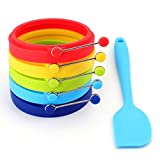 Tebery Silicone Egg Rings Make Perfectly Round Fry Eggs or Pancakes Professional Non-Stick BPA-Free Silicone-5 Pack 5 Color, with One-piece silicone spatula