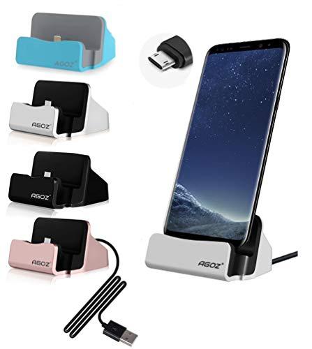 Agoz Charging Dock,Micro USB Charger Station Stand Samsung Galaxy S7, S6, Note 5, J7, J7 PRO, J7V, J7 Sky Pro, J7 Perx,J7 Prime, J3 Emerge,Eclipse,Mission,J3V, Motorola Moto G5 Plus,G4,E5 (Silver)