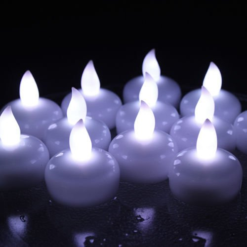 Lot 12 LED Waterproof Floating Tea Candle Lights for Home We